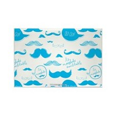 Mustache French Blue Rectangle Magnet