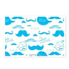 Mustache French Blue Postcards (Package of 8)