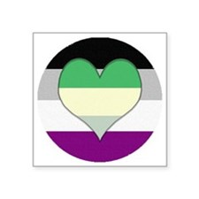 "Aromantic Asexual Heart #2 Square Sticker 3"" x 3"""