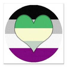 "Aromantic Asexual Heart  Square Car Magnet 3"" x 3"""