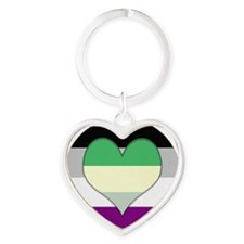 Aromantic Asexual Heart #2 Heart Keychain