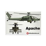 Apache Helicopter Rectangle Magnet