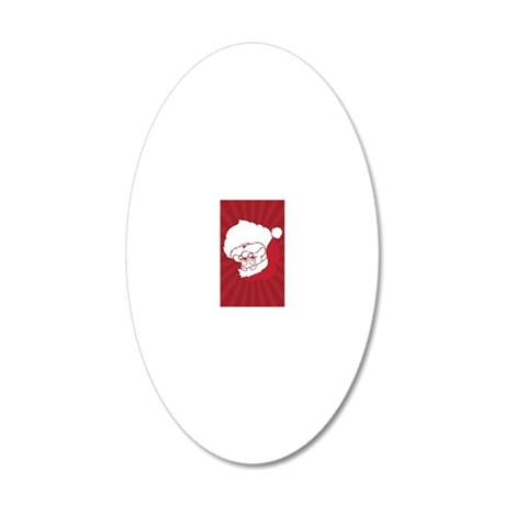 Retro Santa Claus Red Christ 20x12 Oval Wall Decal