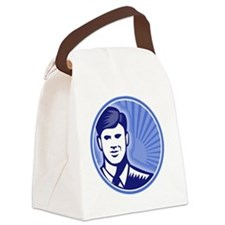 Businessman Face Front Smiling Wo Canvas Lunch Bag