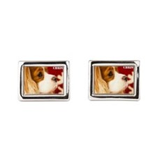 Merry Christmas With Cavalier King Charl Cufflinks