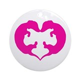 Dachshund Heart in Pink Ornament (Round)