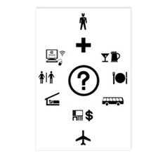Travel Phrases Symbols  Postcards (Package of 8)
