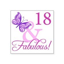 "Fabulous 18th Birthday For  Square Sticker 3"" x 3"""