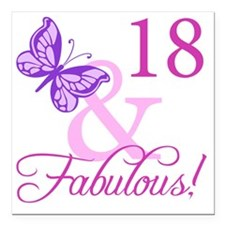"Fabulous 18th Birthday F Square Car Magnet 3"" x 3"""