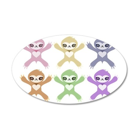 Baby Rainbow Sloths 35x21 Oval Wall Decal