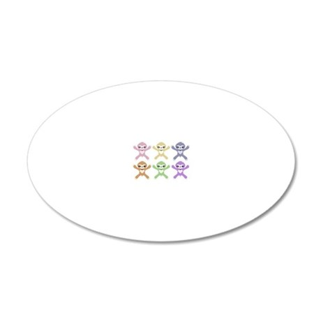 Baby Rainbow Sloths 20x12 Oval Wall Decal