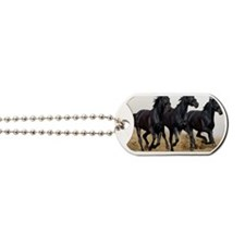 3 Black Horses Running Dog Tags