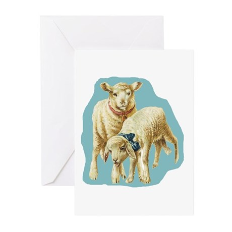 Easter Spring Lambs Blue Greeting Cards