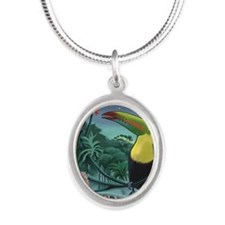 Art Nouveau Toucan Silver Oval Necklace