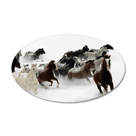 Horses Racing Through The Sn 35x21 Oval Wall Decal