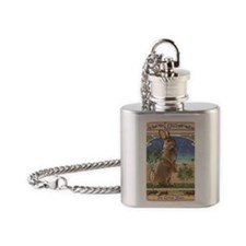Art Nouveau Rabbit Flask Necklace