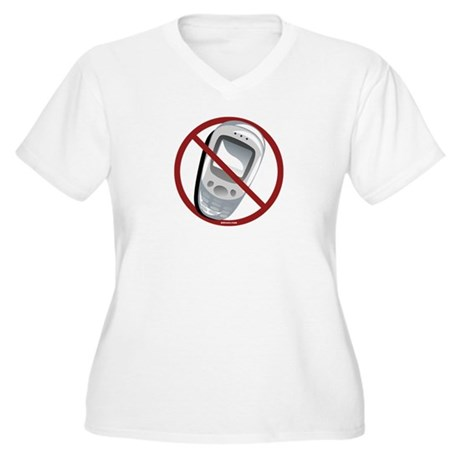Anti-Cellphone Women's Plus Size V-Neck T-Shirt