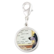 Border Collie dog writer Silver Round Charm