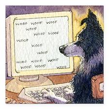 "Border Collie dog writer Square Car Magnet 3"" x 3"""