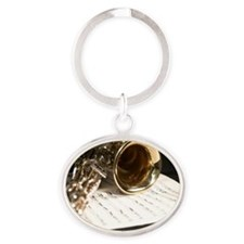 Saxophone Music and Notes Laptop Ski Oval Keychain