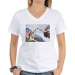 Creation of the Beagle Women's V-Neck T-Shirt