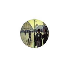 Paris Street, Rainy Day by Caillebotte Mini Button