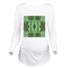 Green Leaf Pattern Graphic. Long Sleeve Maternity