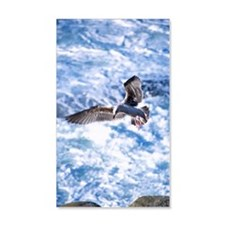 Seagull in flight over white wash Wall Decal