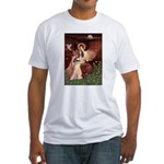 Seated Angel & Basset Fitted T-Shirt