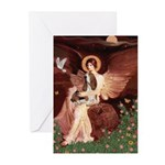 Seated Angel & Basset Greeting Cards (Pk of 10)
