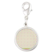 pink and green polka dots Silver Round Charm