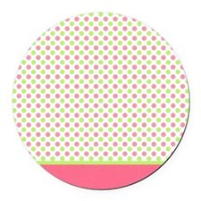 pink and green polka dots Round Car Magnet