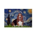 Starry / Basset Hound Rectangle Magnet
