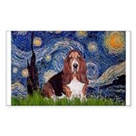 Starry / Basset Hound Sticker (Rectangle)