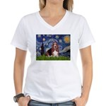 Starry / Basset Hound Women's V-Neck T-Shirt