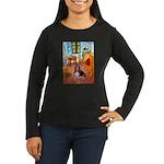 Room with a Basset Women's Long Sleeve Dark T-Shir
