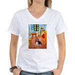 Room with a Basset Women's V-Neck T-Shirt