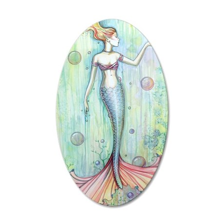 Bubbles Mermaid Fantasy Art  35x21 Oval Wall Decal