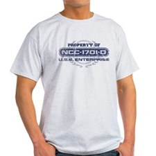 Property of USS Enterprise 1701-D (Blue-Grunge) T-