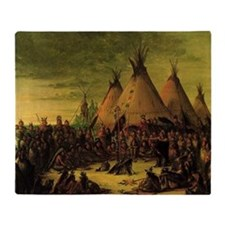 Sioux War Council by George Catlin Throw Blanket