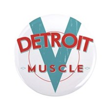 "Detroit Muscle red n blue 3.5"" Button"