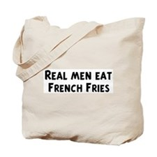 Men eat French Fries Tote Bag