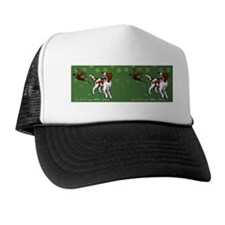 Irish Red and White Setter with Clover Trucker Hat