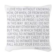 Neruda Quote- Blue Gray Woven Throw Pillow