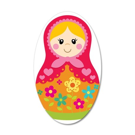 Matroyshka Girl, Pink 35x21 Oval Wall Decal