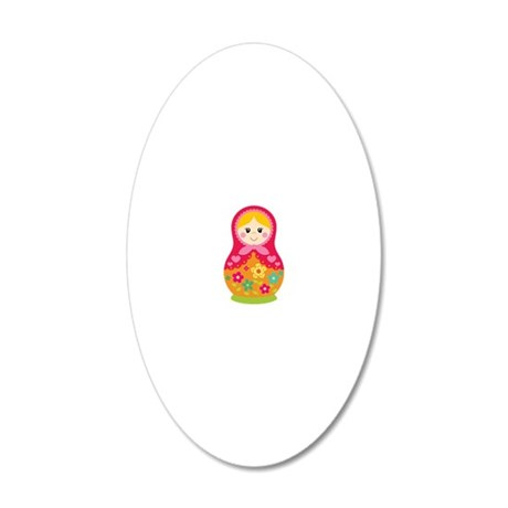 Matroyshka Girl, Pink 20x12 Oval Wall Decal