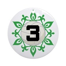 Volleyball Number 3 Christmas Snowflake Ornament (