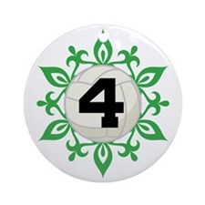 Volleyball Number 4 Christmas Snowflake Ornament (