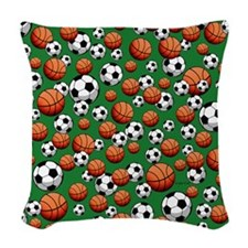 Soccer & Basketball Woven Throw Pillow