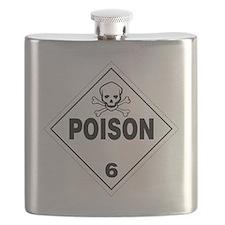 Poison Skull and Bones Warning Sign Flask